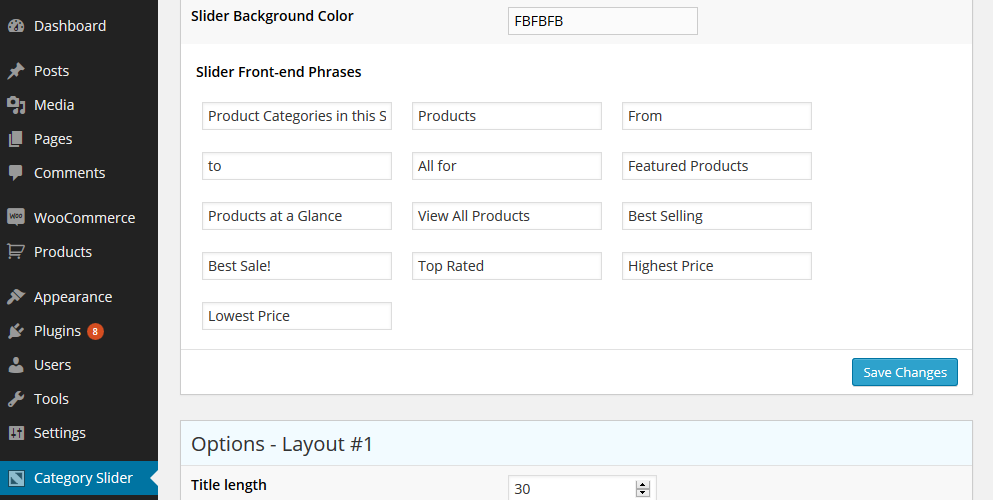WooCommerce Category Slider Pro Settings