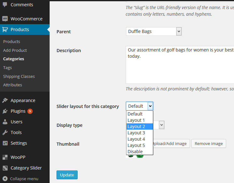 WooCommerce Category Slider Pro Settings