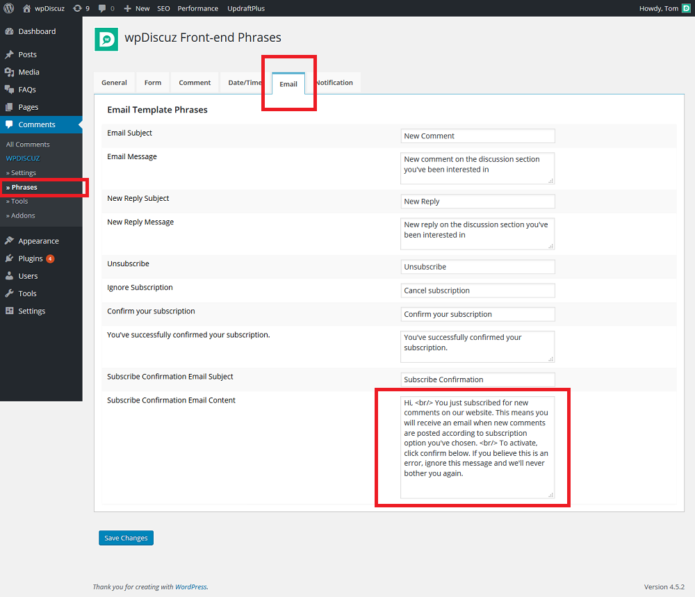 WPDISCUZ change email notification templates – How-To and ...