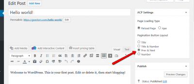 Pagination for Posts plugin button layout on edit post screen