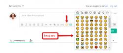 wpDiscuz Emoticons addon adds emoji sets