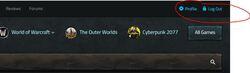 gg nav account menu logged in