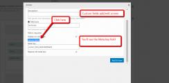 Custom fields add edit screen